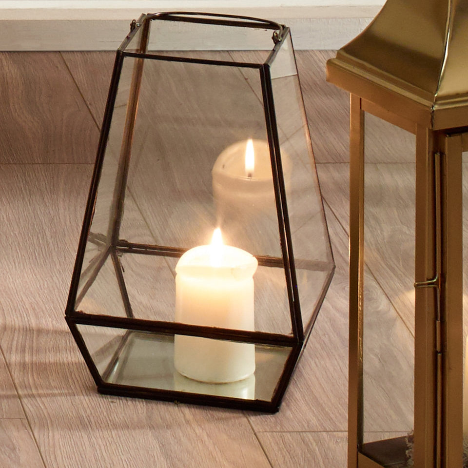 Alessia Matt Black Metal & Clear Glass Geo Lantern