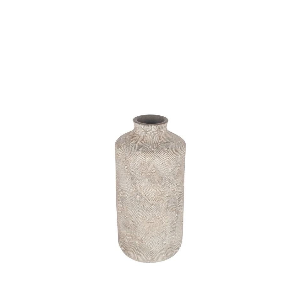 Balahibo Matt Grey Feather Stoneware Vase