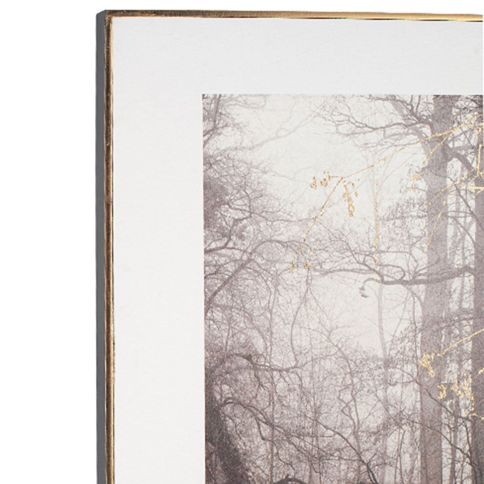 Grove Waterside Tree Print with Gold Detail and Black Frame