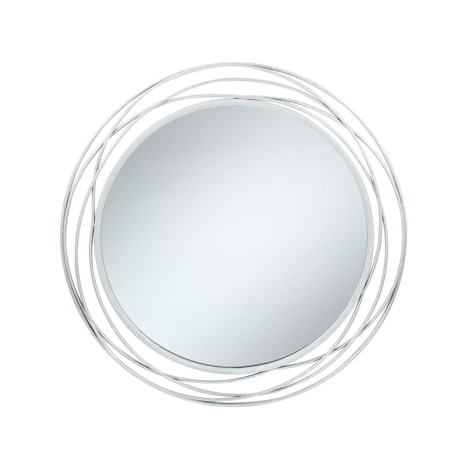 Dimitra Antique Silver Metal Round Wall Mirror