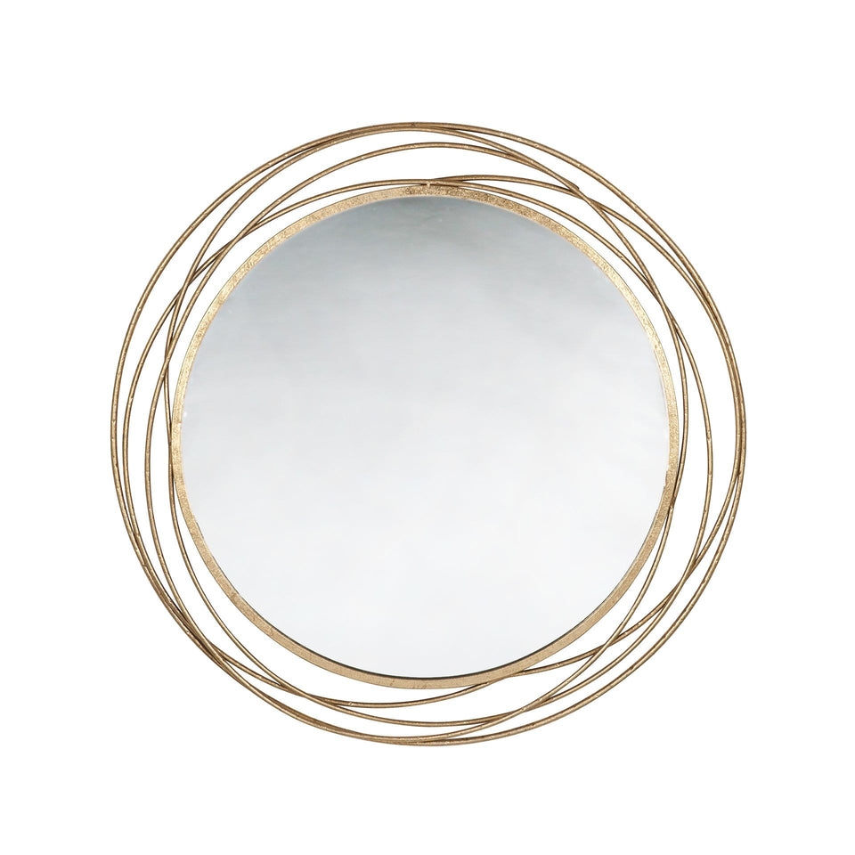 Dimitra Antique Gold Metal Round Wall Mirror