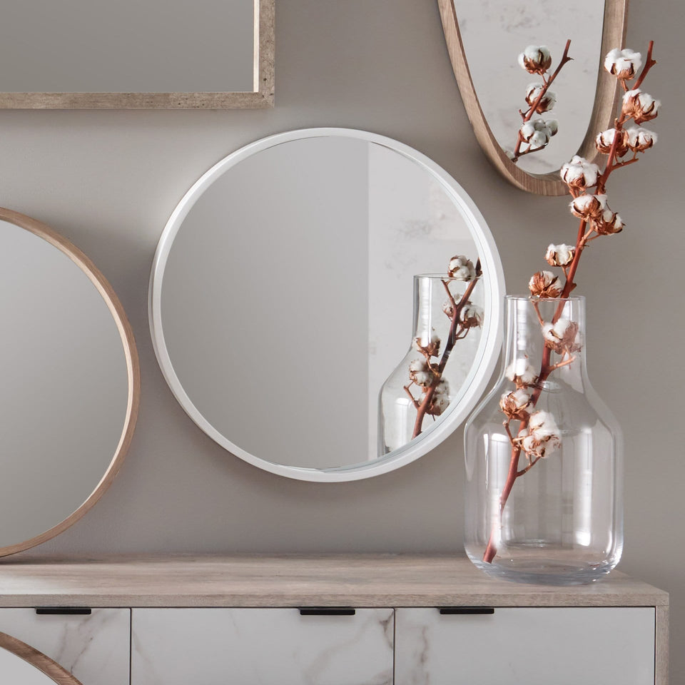 Varberg Glossy White Wood Round Wall Mirror