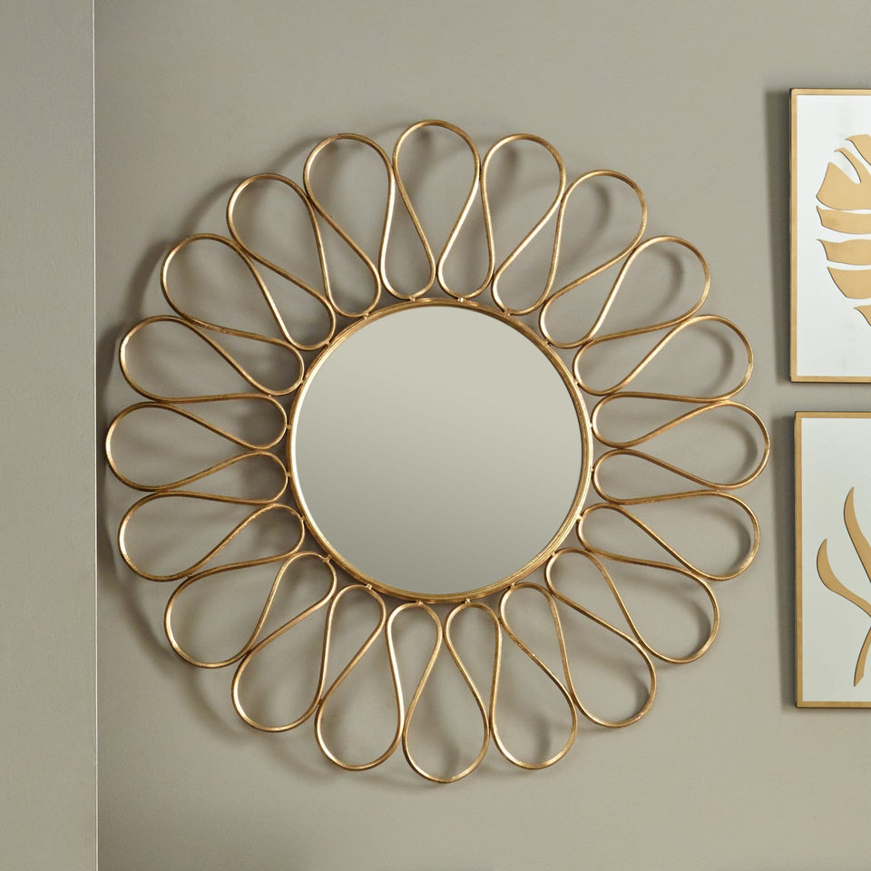 Antique Gold Petal Design Round Wall Mirror Home Accents Ruma
