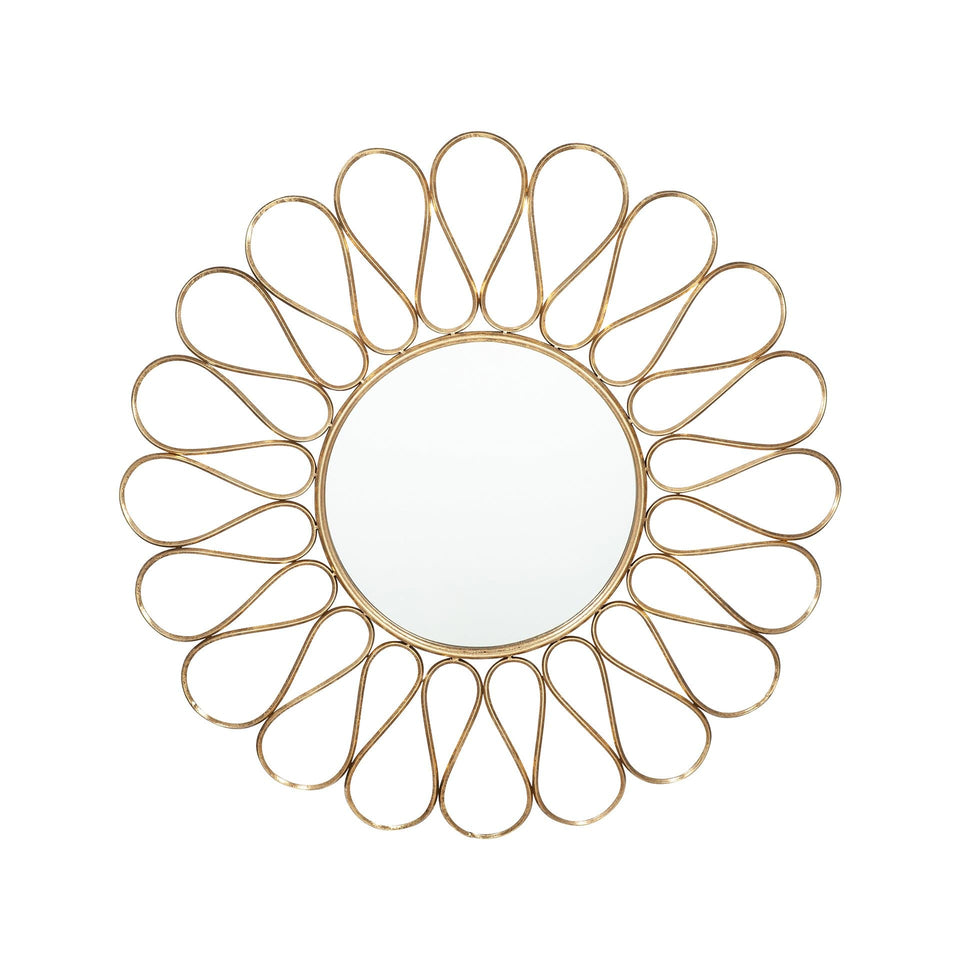 Hera Antique Gold Metal Petal Design Round Wall Mirror