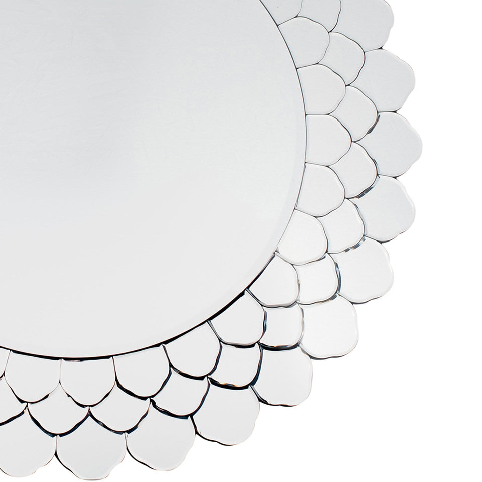 Tallulah Clear Layered Glass Round Wall Mirror