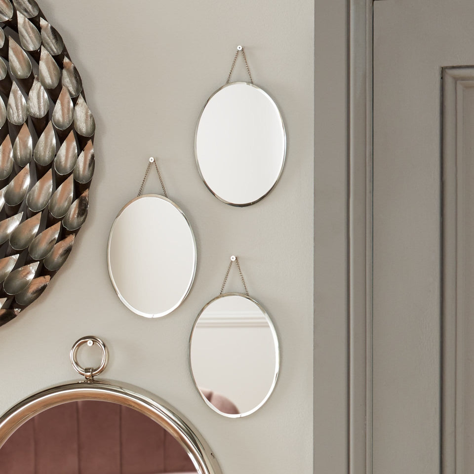 Ritzy Trio Set of 3 Clear Glass Oval Wall Mirrors