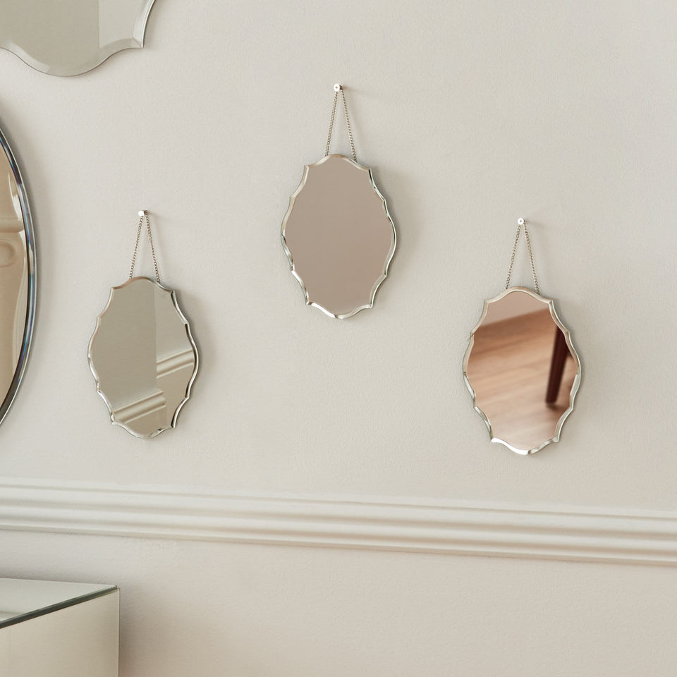 Blousey Trio Set of 3 Clear Glass Scalloped Wall Mirrors