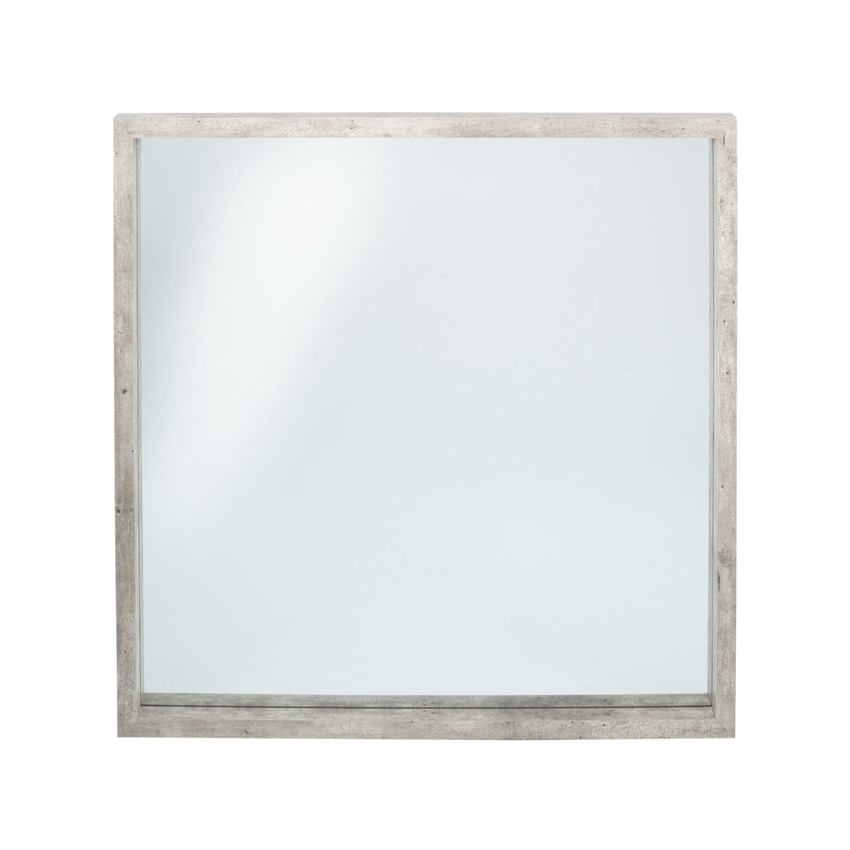 Albany Concrete Effect Wood Veneer Square Mirror Large