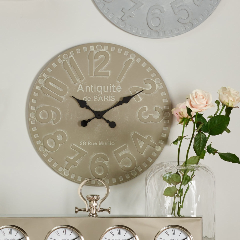 Albemarle Dove Grey Wood Round Wall Clock