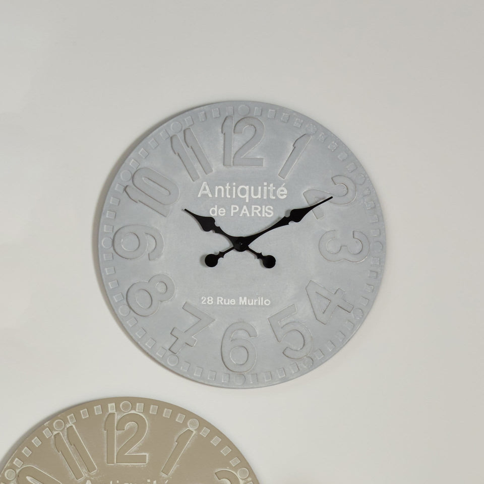 Albemarle Stone Grey Wood Round Wall Clock