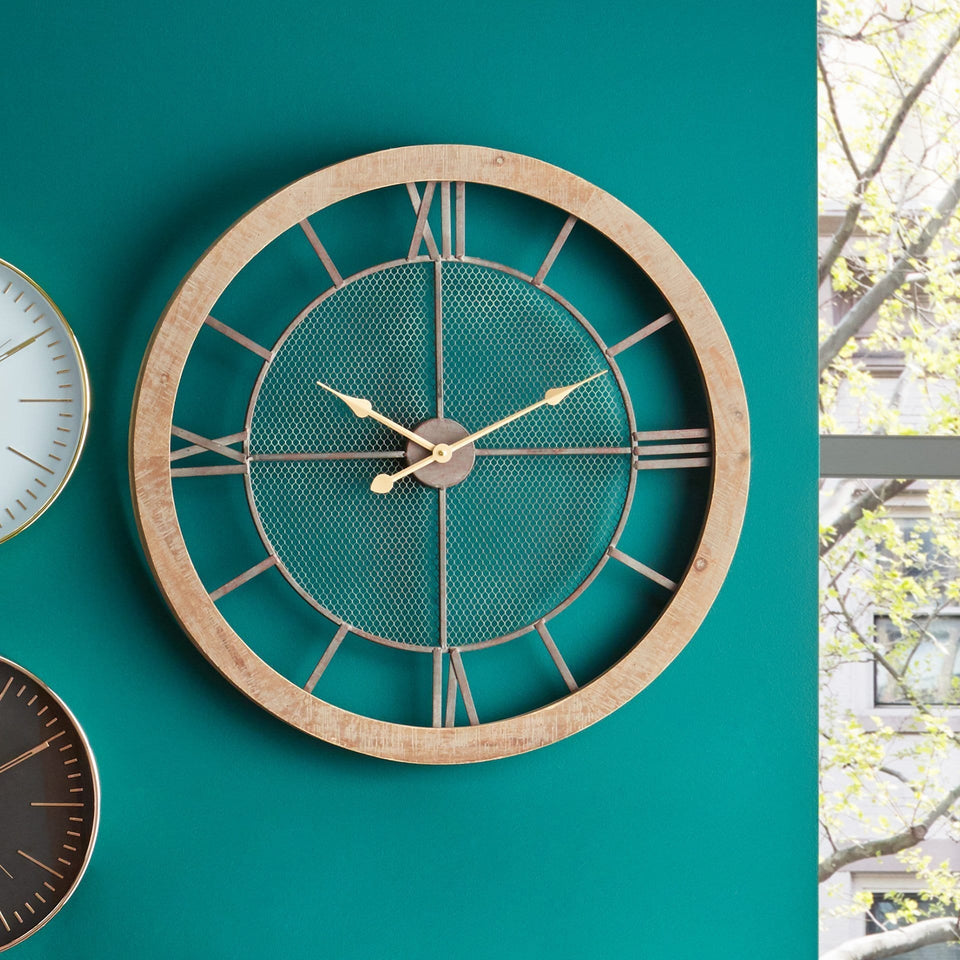 Lambert Natural Wood & Metal Round Wall Clock