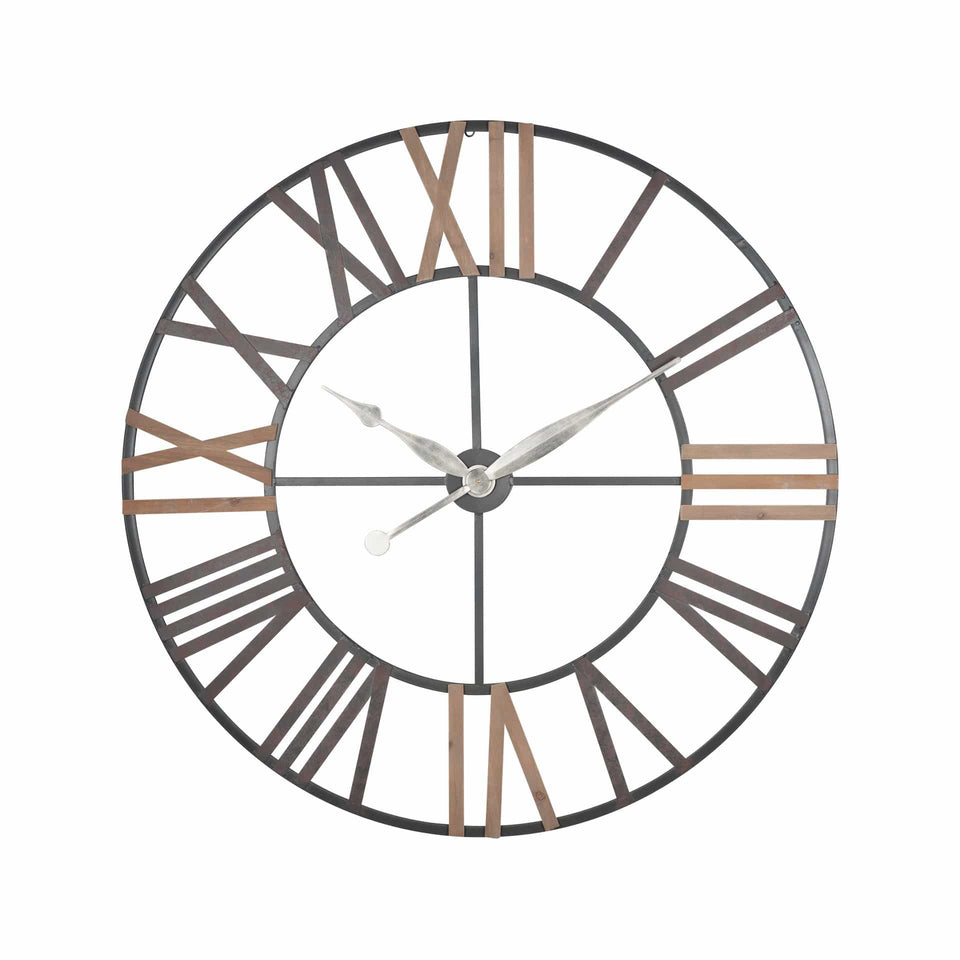 Johnstone Antique Grey Metal & Wood Round Wall Clock