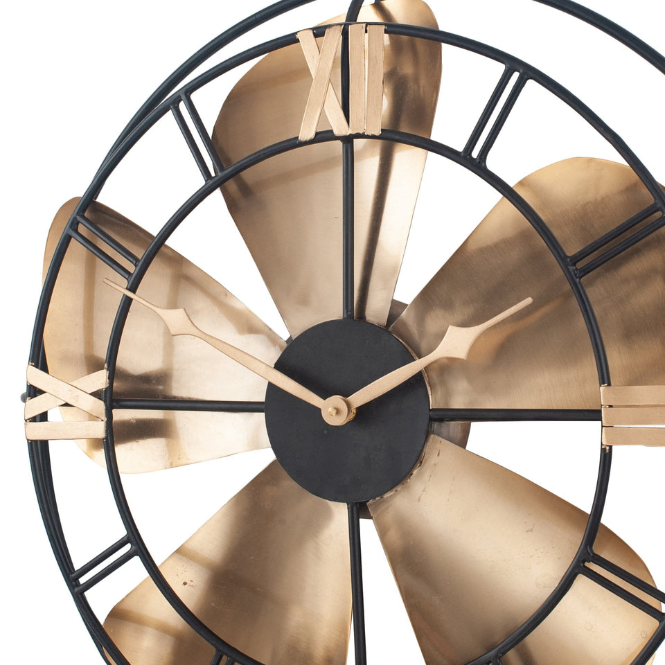 Elica Antique Brass & Black Metal Fan Design Wall Clock