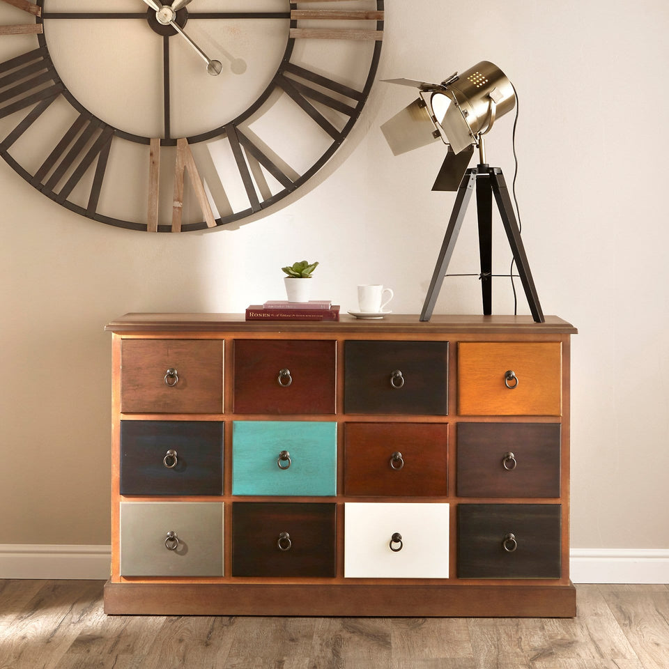 Staten 12 Drawer Pine Wood Sideboard Unit