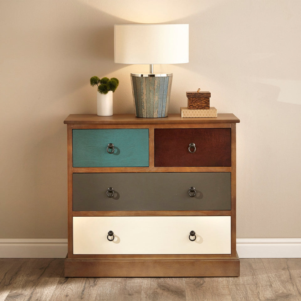 Staten 4 Drawer Pine Wood Chest Of Drawers