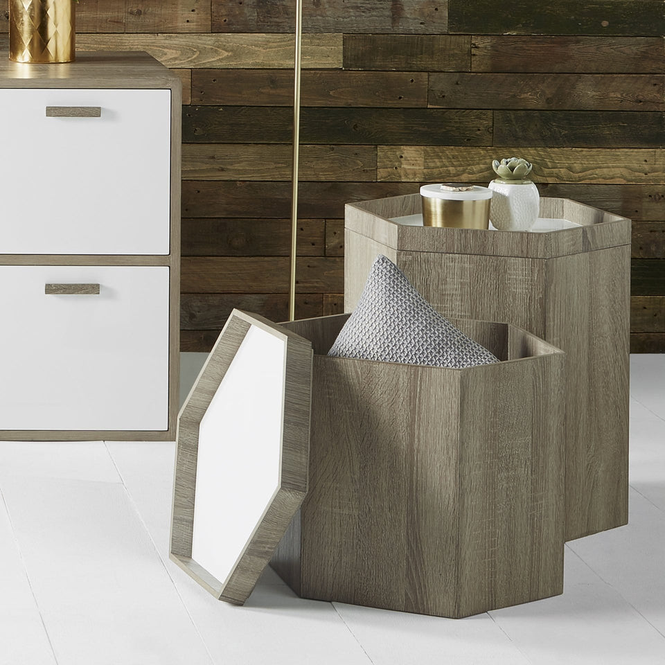Dragor Natural & White Wood Hexagonal Storage Box Small