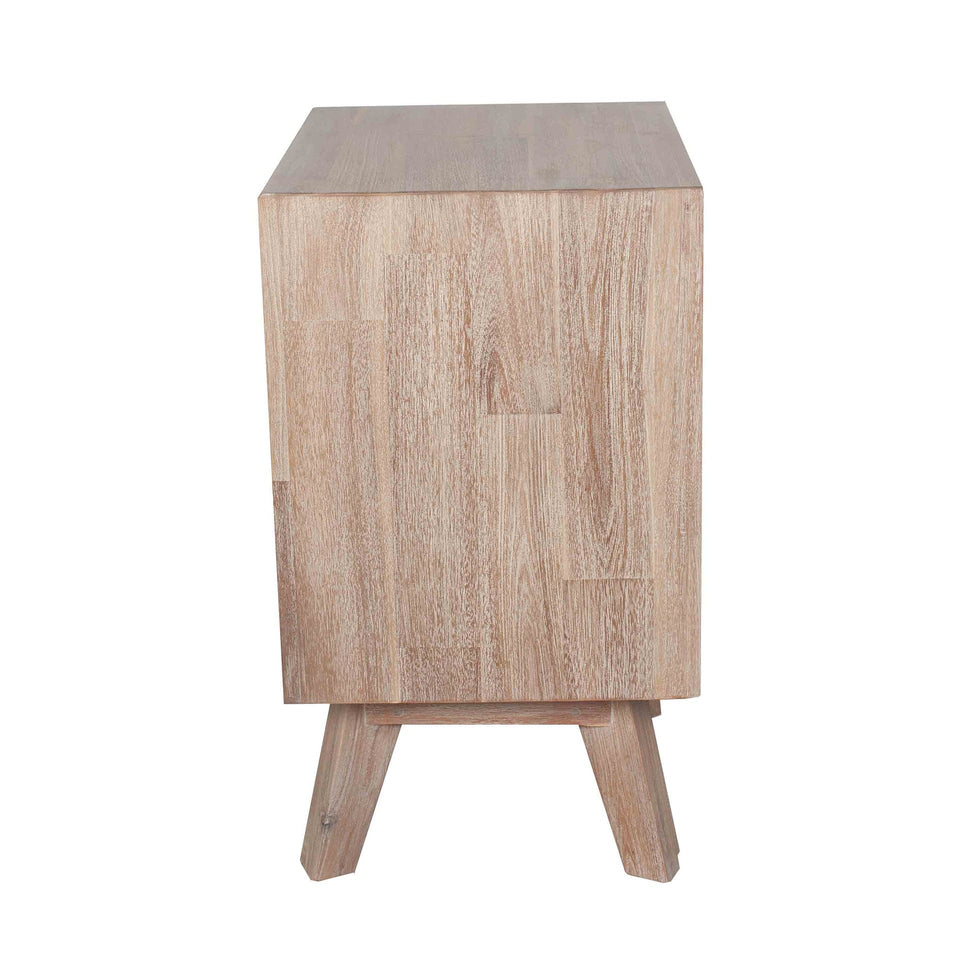 Herning Sand Wash Acacia Wood 3 Drawer Bedside Unit