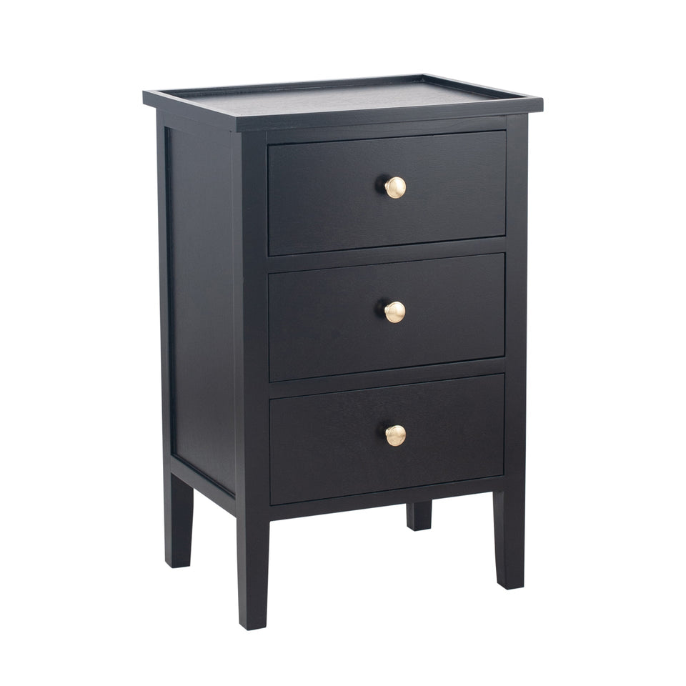 Bloomsbury Satin Black Pine Wood 3 Drawer Bedside Unit