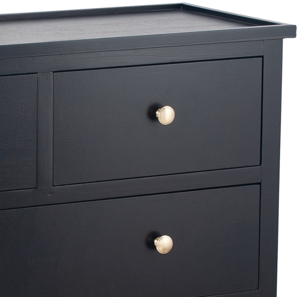 Bloomsbury Satin Black Pine Wood 4 Drawer Unit