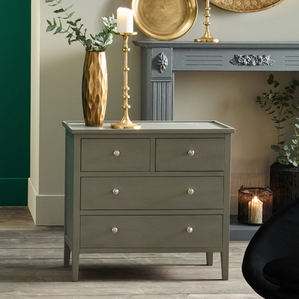 Bloomsbury Vendee Grey Pine Wood 4 Drawer Unit