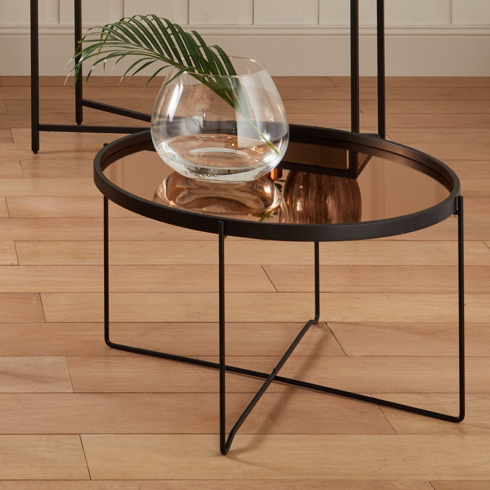 Minori Matt Black Wood Copper Glass Coffee Table
