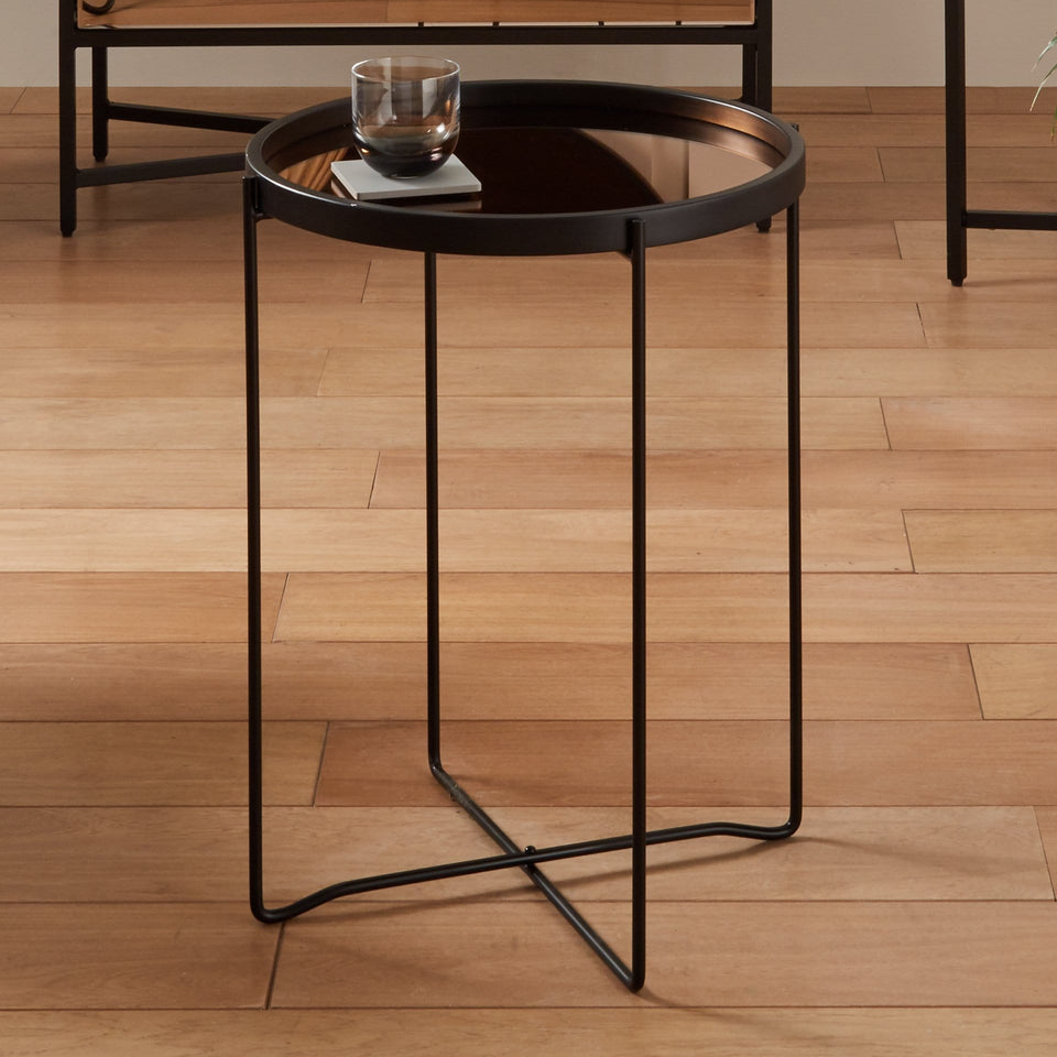 Minori Matt Black Wood & Copper Glass Side Table