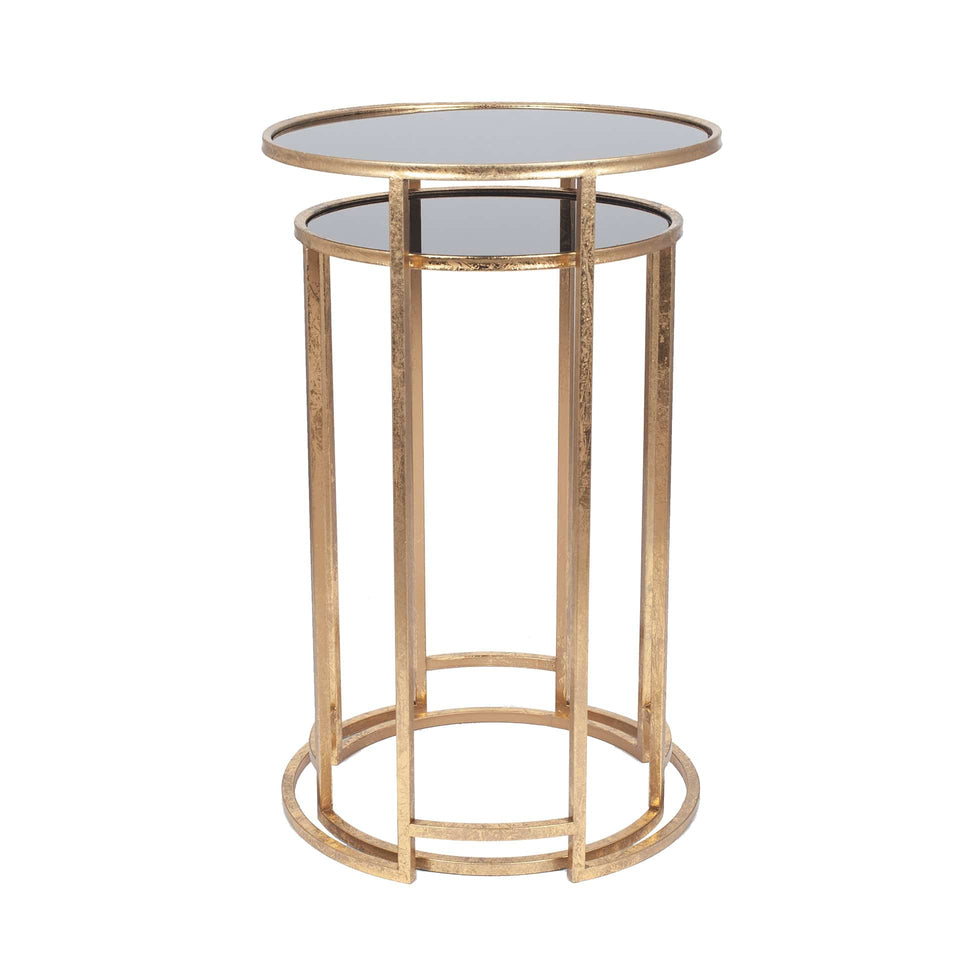 Marini Antique Gold & Black Glass S/2 Round Tables