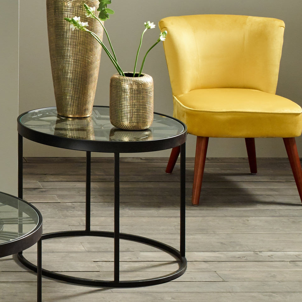 Strand Antique Black Metal Round Clock Side Table