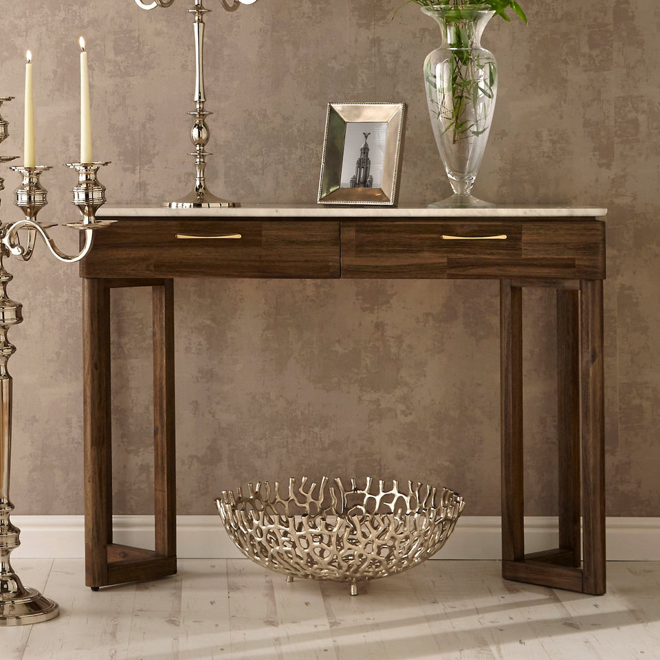 Varde Cool Brown Acacia Wood & Marble Console Table