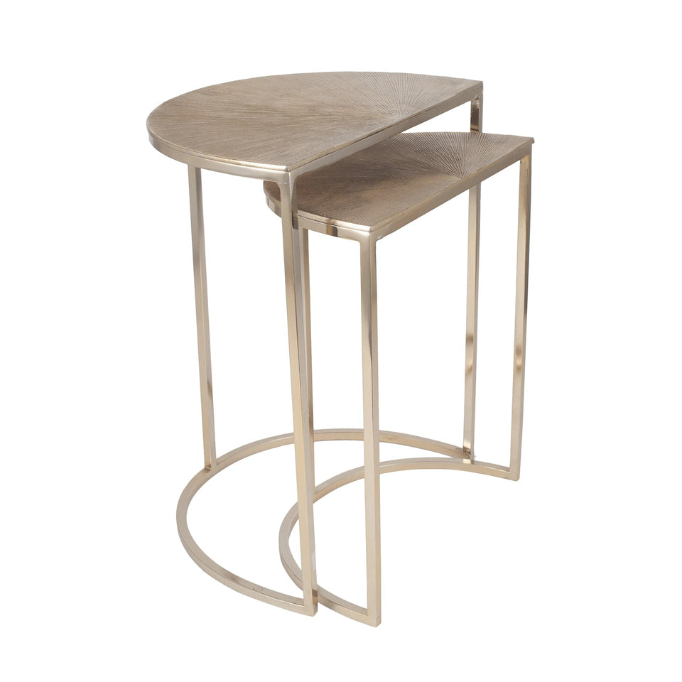 Tilia S/2 Gold Metal Half Moon Tables