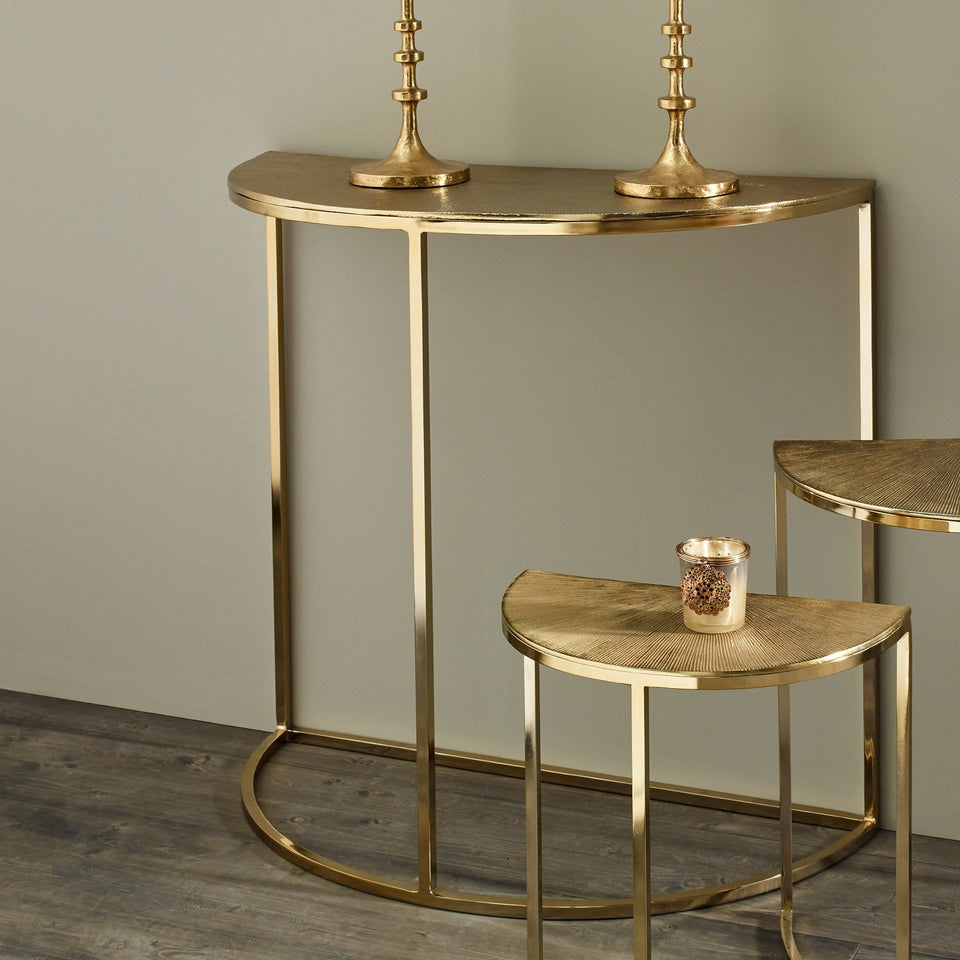 Tilia Gold Metal Half Moon Console Table