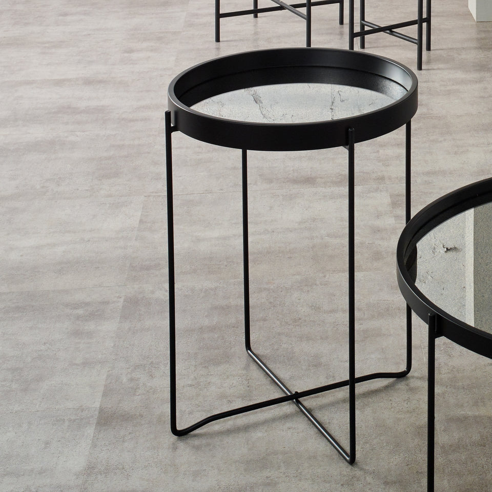 Minori Matt Black Wood Veneer & Foxed Glass Side Table