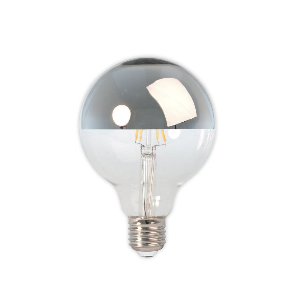 Domus E27 LED Clear Filament Silver Top Globe Bulb
