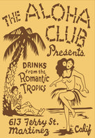 Aloha Club Vintage Tiki Bar Matchbook Art T-Shirt Reproduction.
