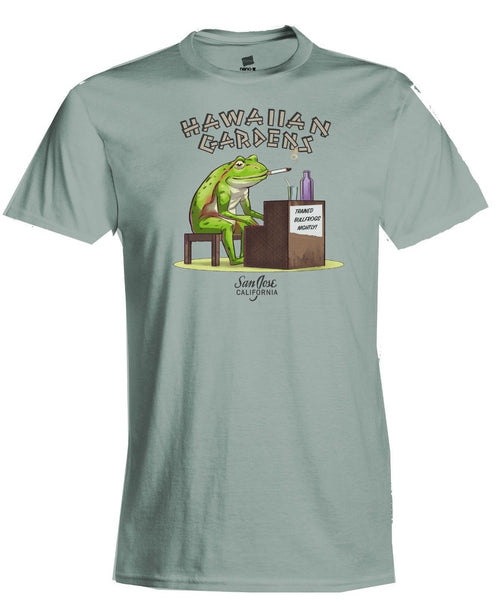 Hawaiian Gardens San Jose, CA tiki bar frog playing piano t-shirt