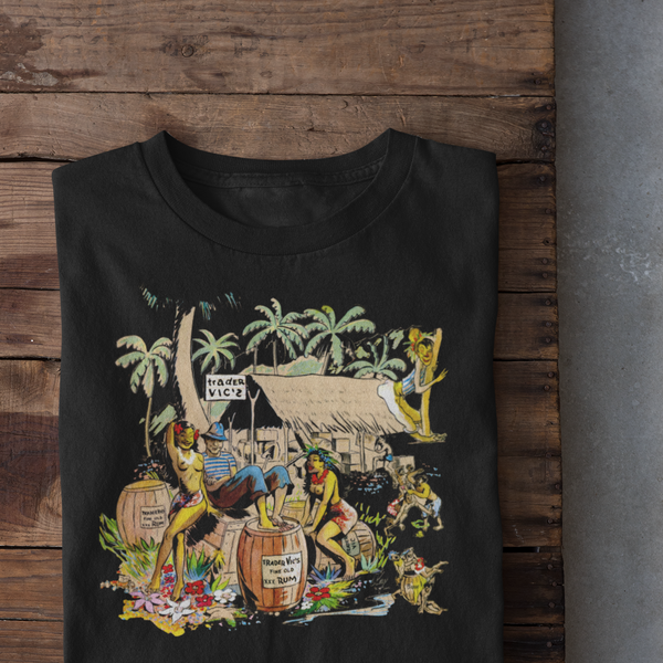 Tiki Bar Menu T-Shirt - Trader Vics 1947 menu art Men's Shirt