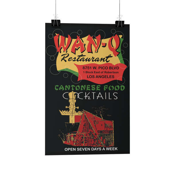 Wan-Q Restaurant Matchbook Reproduction Poster/Print/Greeting Card