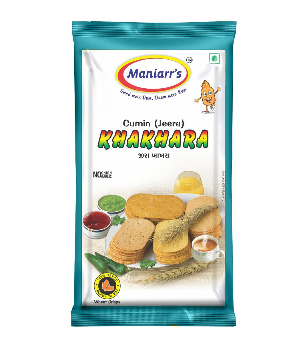 Maniarr's JEERA Khakhra (8 packs, Single Flavor, 360 gms)