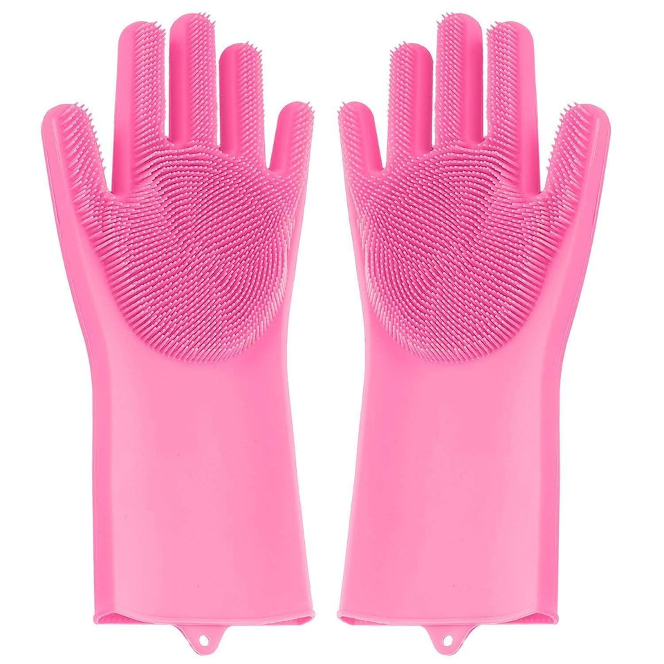714 Reusable Silicone Cleaning Brush Scrubber Gloves (Multicolor)