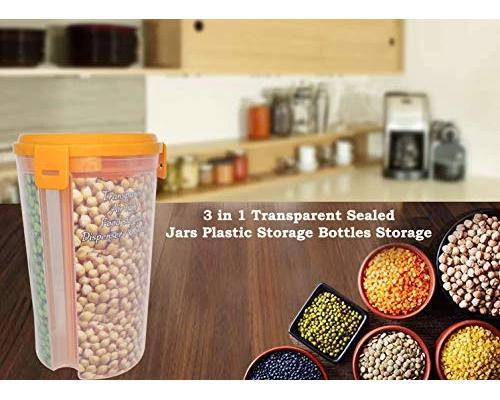 065 -3 in 1 Transparent Sealed Jars Plastic Storage Box
