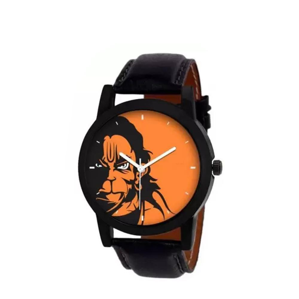 wt1010- Unique & Premium Analogue Watch Hanuman Print Multicolour Dial Leather Strap (Hanuman 10)