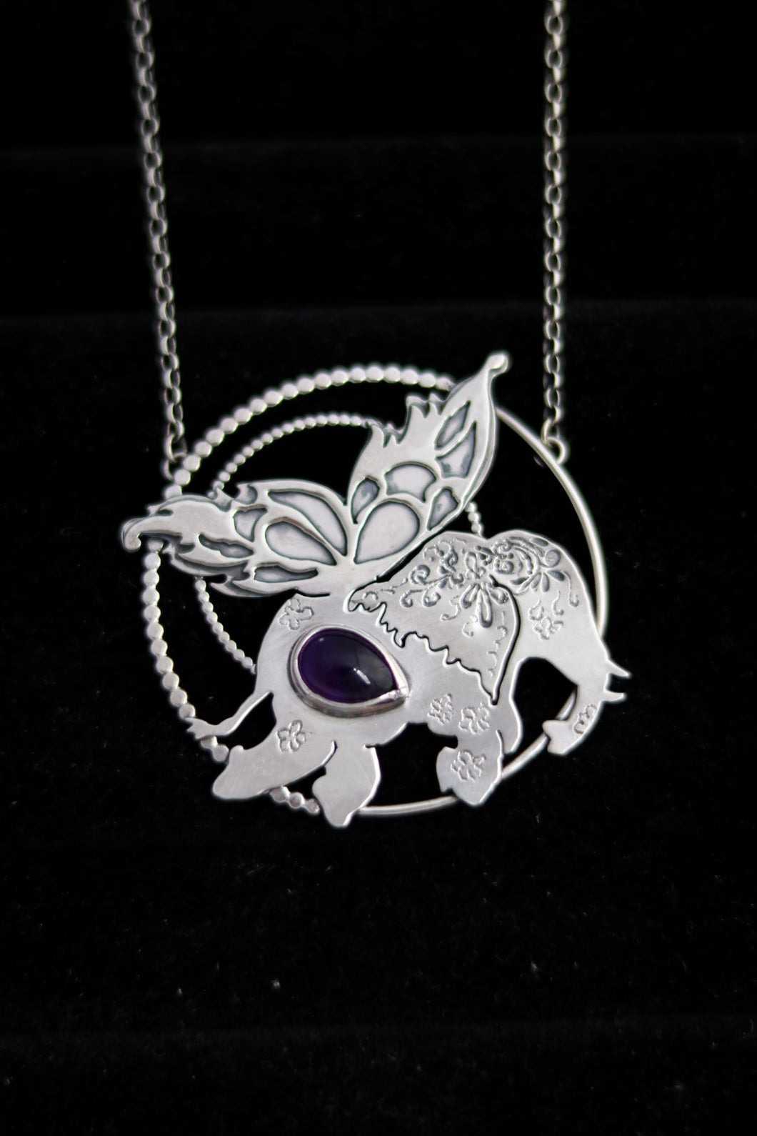 Kamama Magical Butterfly Elephant Amethyst Necklace