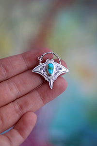 Graceful Guardian #8 - Manta Ray Turquoise Necklace