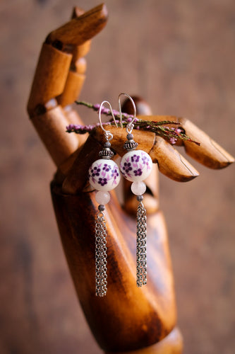 Heather Ceramic & Rose Quarz Earrings