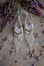 Load image into Gallery viewer, Rose Quartz Moon Tassle Earrings