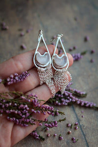Rose Quartz Moon Tassle Earrings