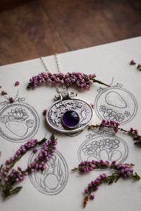 LAVENDER Amethyst Embroidery Hoop Necklace