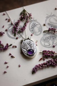 IRIS Amethyst Embroidery Hoop Necklace