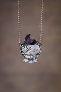 Artemis. Sleeping Cat Necklace with Amethyst
