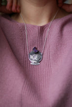 Load image into Gallery viewer, Artemis. Sleeping Cat Necklace with Amethyst